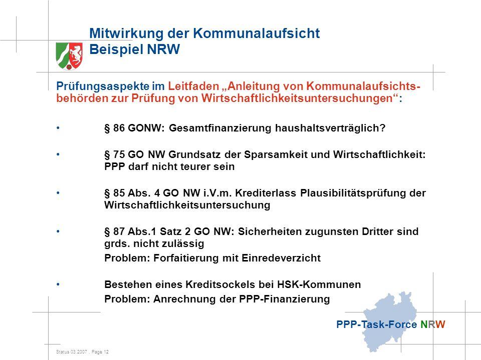 Mitwirkung der Kommunalaufsicht Beispiel NRW
