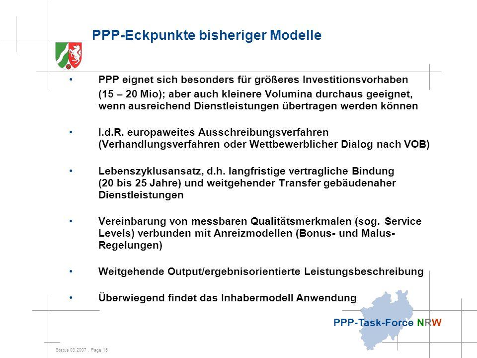 PPP-Eckpunkte bisheriger Modelle