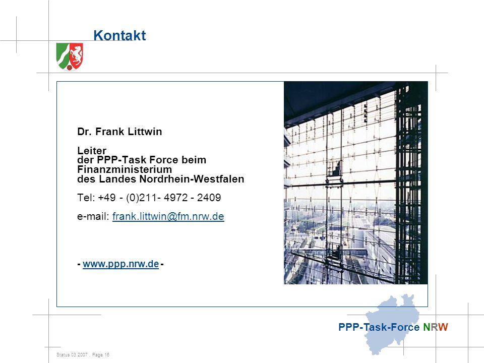 Kontakt Dr. Frank Littwin Finanzministerium