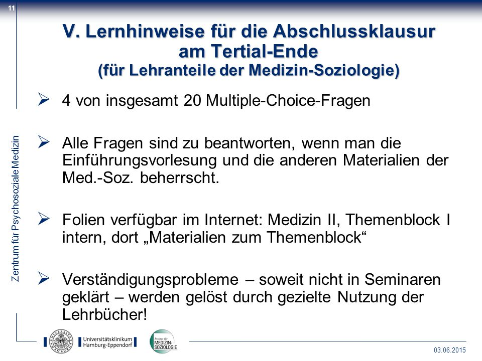 V. Lernhinweise für die Abschlussklausur am Tertial-Ende (für Lehranteile der Medizin-Soziologie)