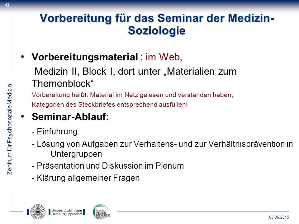 Vorbereitung für das Seminar der Medizin-Soziologie