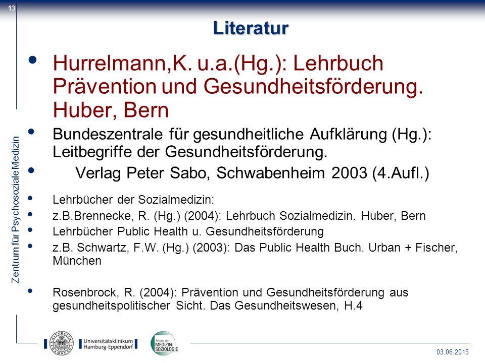 Literatur Hurrelmann,K. u.a.(Hg.): Lehrbuch Prävention und Gesundheitsförderung. Huber, Bern.