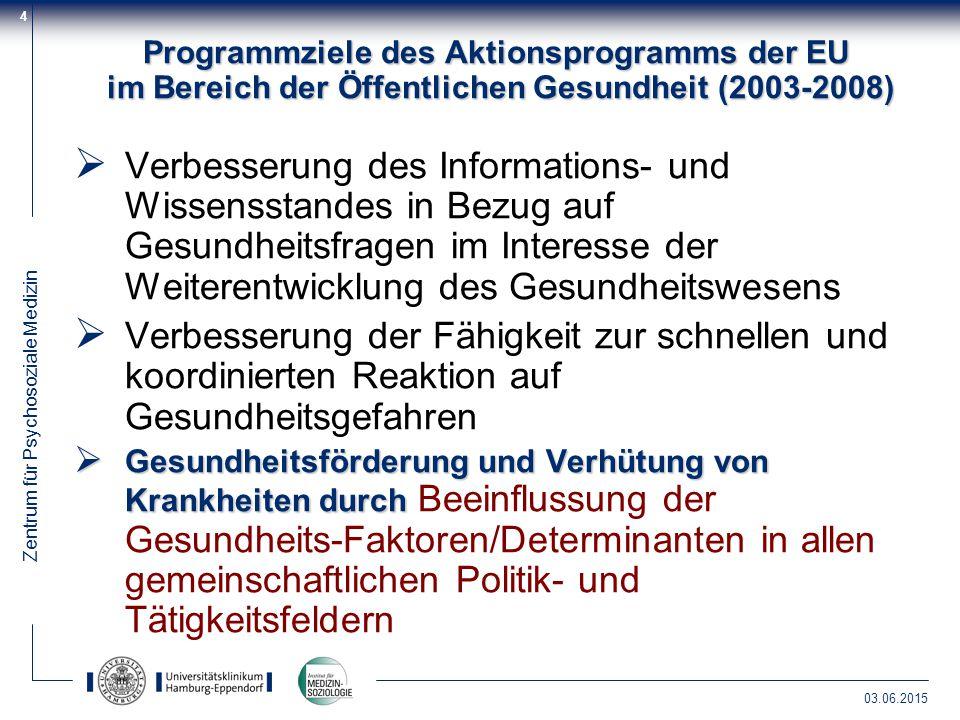 Programmziele des Aktionsprogramms der EU im Bereich der Öffentlichen Gesundheit (2003-2008)