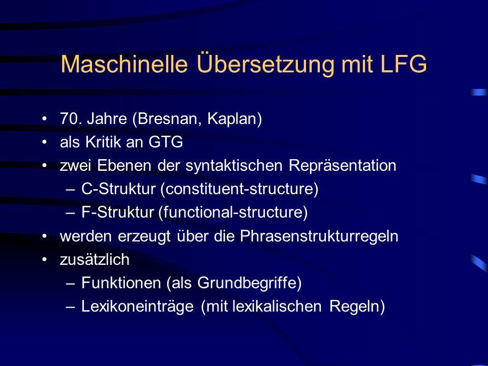 Maschinelle Übersetzung mit LFG