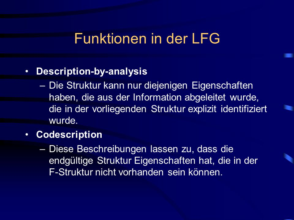 Funktionen in der LFG Description-by-analysis