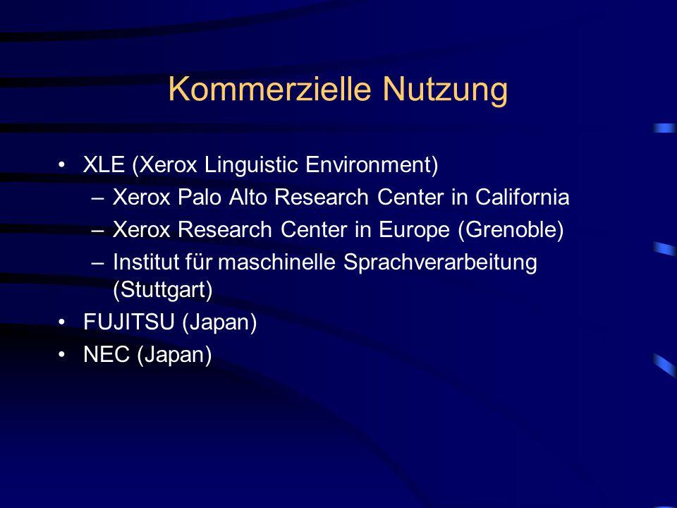 Kommerzielle Nutzung XLE (Xerox Linguistic Environment)