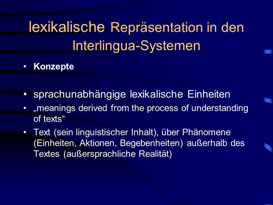 lexikalische Repräsentation in den Interlingua-Systemen