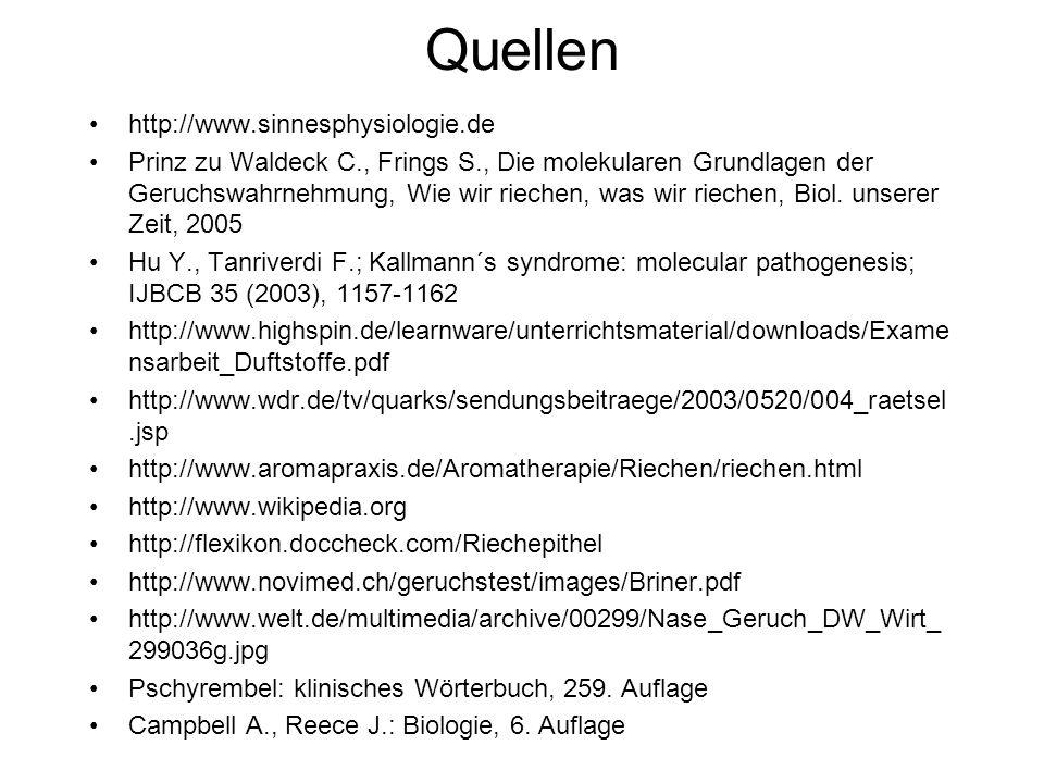 Quellen http://www.sinnesphysiologie.de