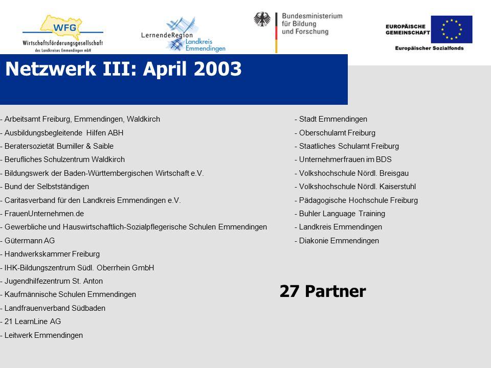 Netzwerk III: April 2003 27 Partner