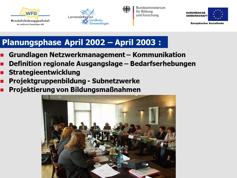 Planungsphase April 2002 – April 2003 :