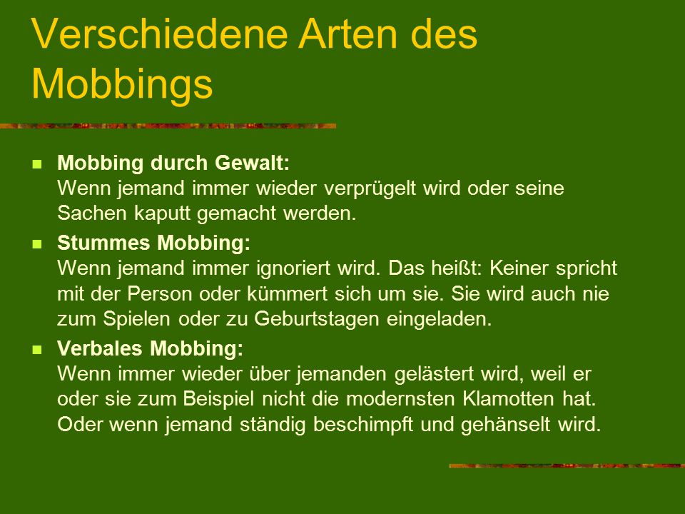 stummes mobbing in der familie