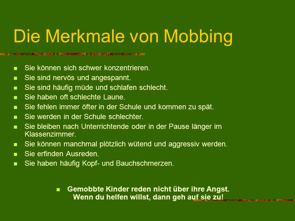 Die Merkmale von Mobbing