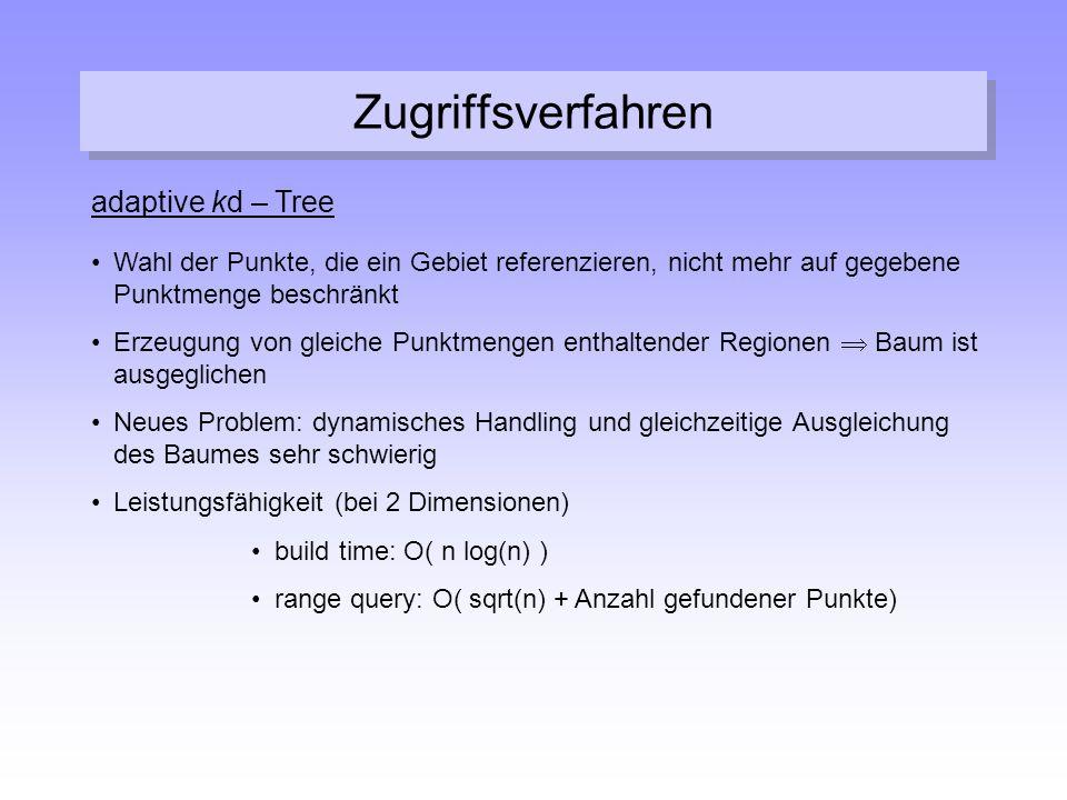 Zugriffsverfahren adaptive kd – Tree