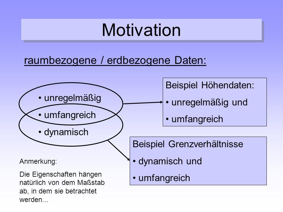 Motivation raumbezogene / erdbezogene Daten: unregelmäßig umfangreich