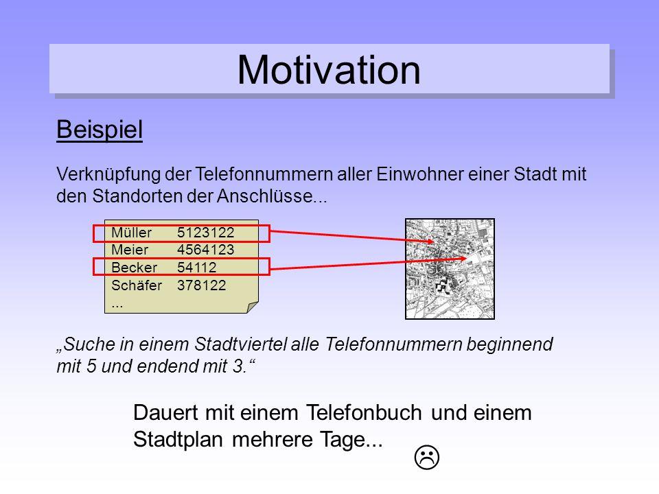 Motivation Beispiel. Verknüpfung der Telefonnummern aller Einwohner einer Stadt mit den Standorten der Anschlüsse...