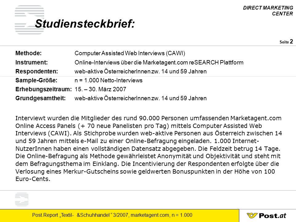 Studiensteckbrief: Methode: Computer Assisted Web Interviews (CAWI)