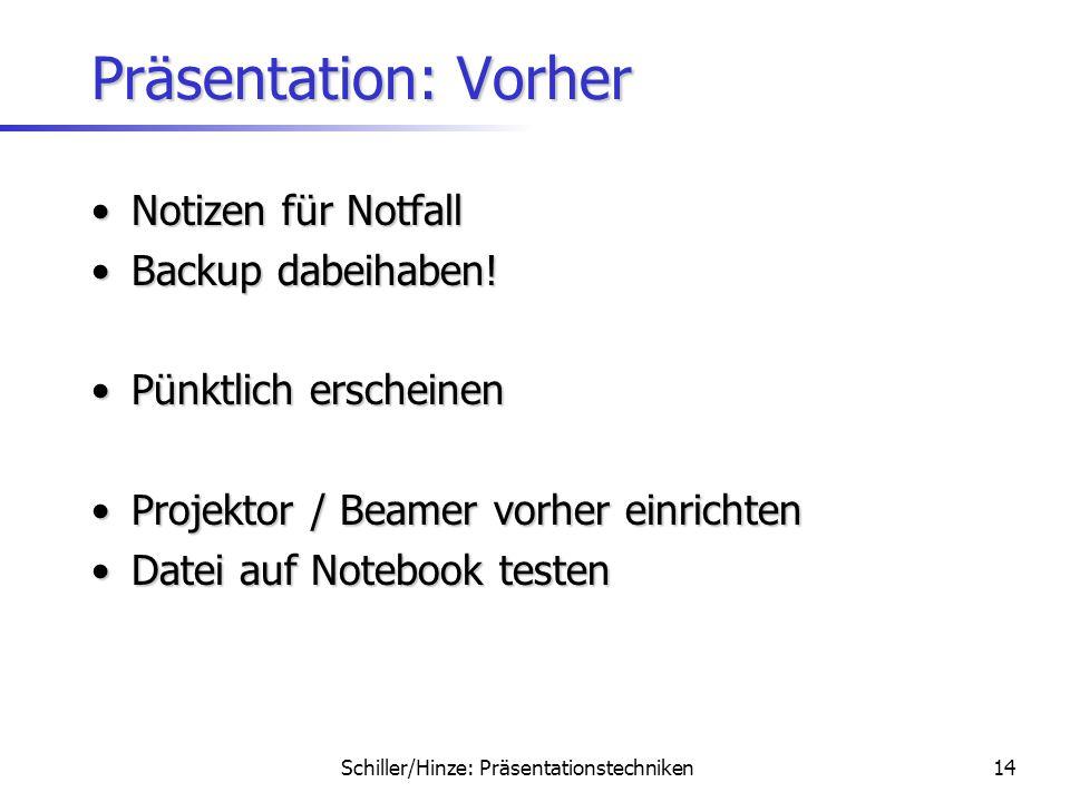Präsentation: Vorher Notizen für Notfall Backup dabeihaben!