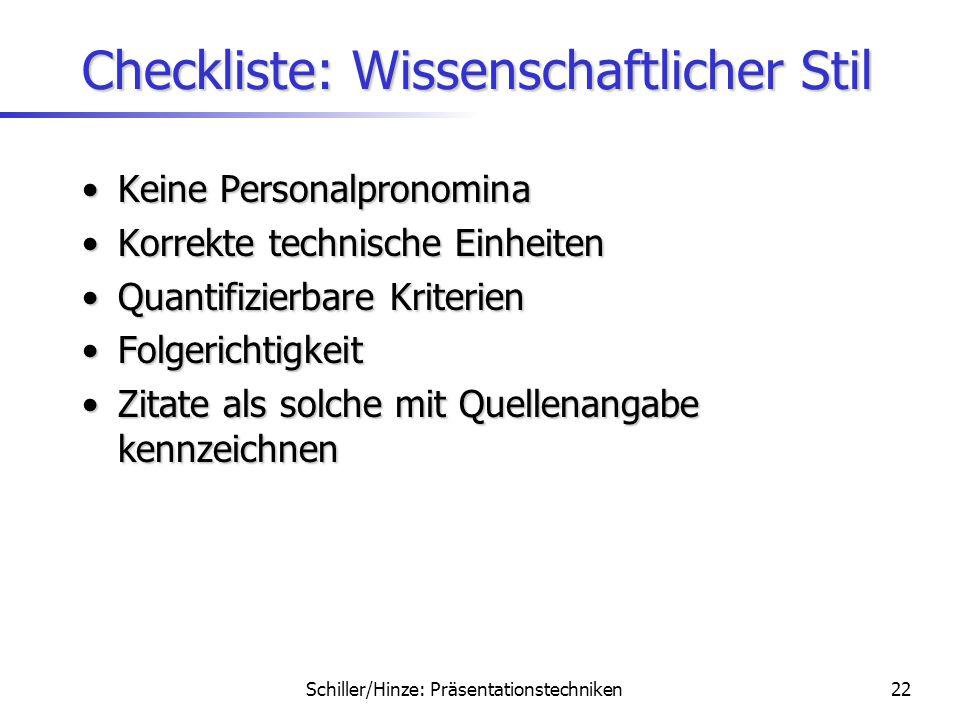 Checkliste: Wissenschaftlicher Stil