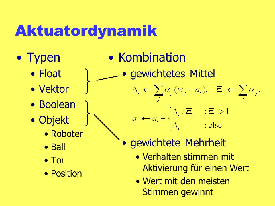 Aktuatordynamik Typen Kombination Float Vektor Boolean Objekt