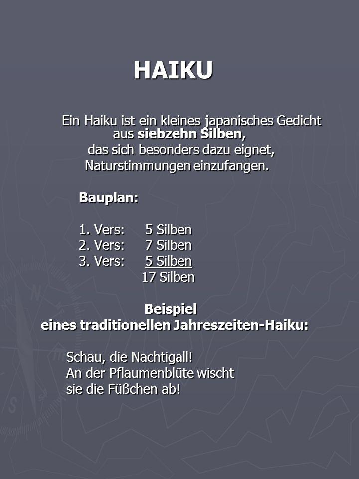 eines traditionellen Jahreszeiten-Haiku: