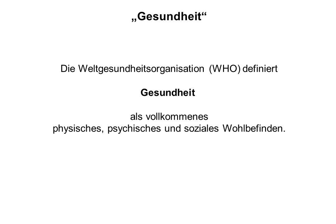 """""""Gesundheit Die Weltgesundheitsorganisation (WHO) definiert"""