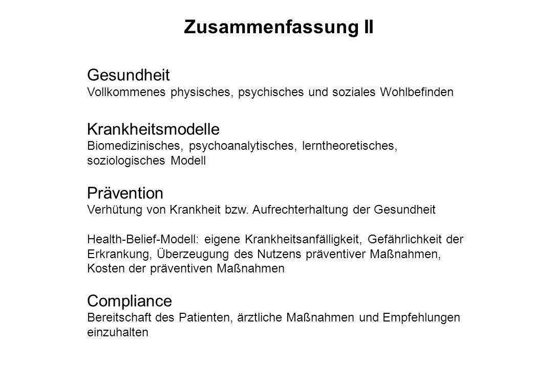 Zusammenfassung II Gesundheit Krankheitsmodelle Prävention Compliance