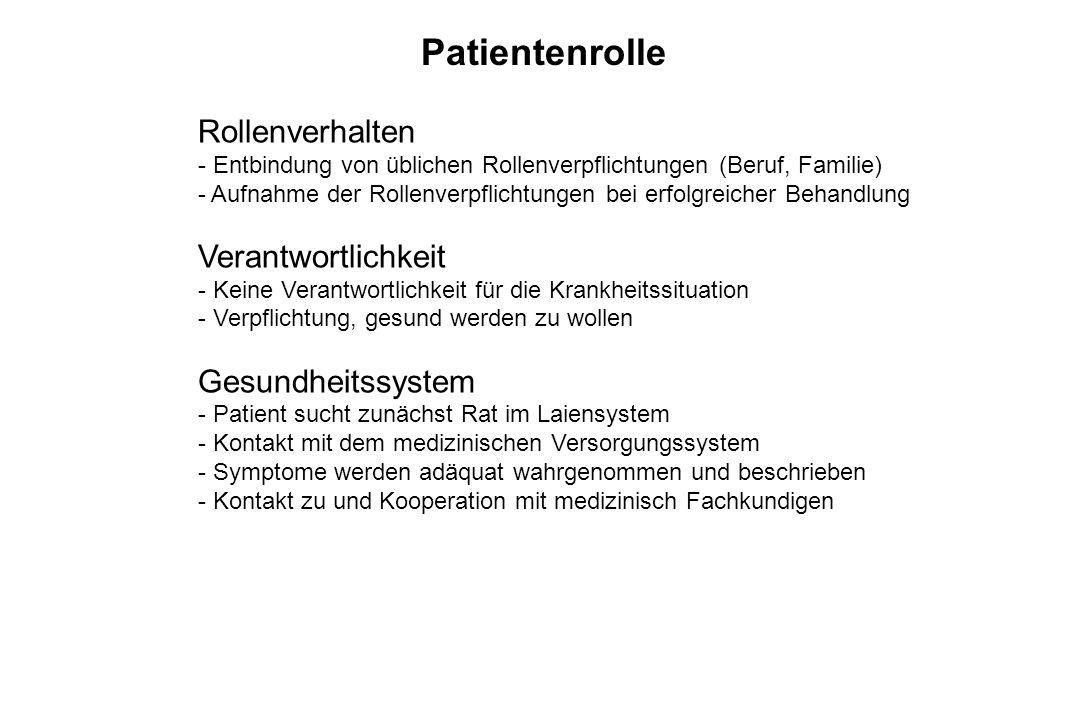 Patientenrolle Rollenverhalten Verantwortlichkeit Gesundheitssystem