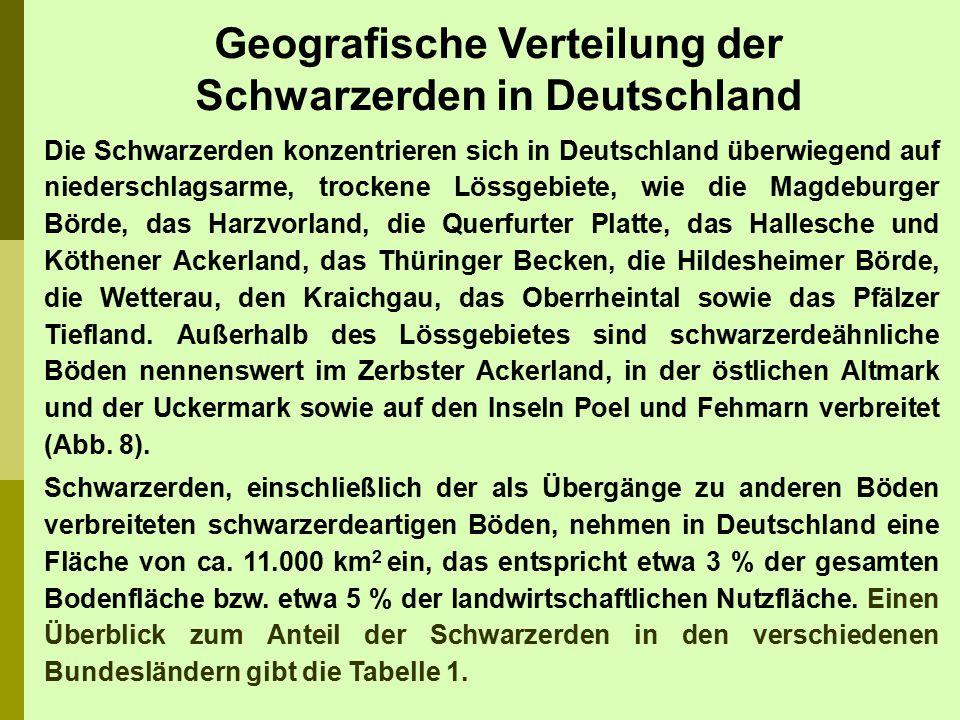 Geografische Verteilung der Schwarzerden in Deutschland