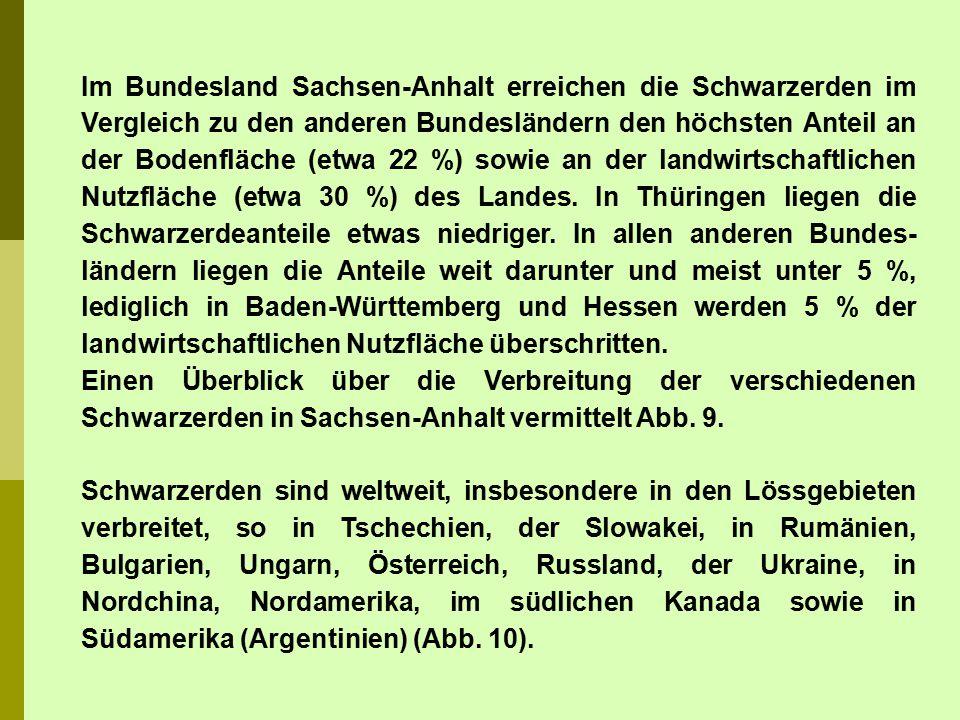 Im Bundesland Sachsen-Anhalt erreichen die Schwarzerden im Vergleich zu den anderen Bundesländern den höchsten Anteil an der Bodenfläche (etwa 22 %) sowie an der landwirtschaftlichen Nutzfläche (etwa 30 %) des Landes. In Thüringen liegen die Schwarzerdeanteile etwas niedriger. In allen anderen Bundes-ländern liegen die Anteile weit darunter und meist unter 5 %, lediglich in Baden-Württemberg und Hessen werden 5 % der landwirtschaftlichen Nutzfläche überschritten.