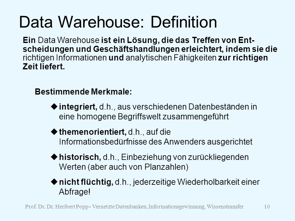 Data Warehouse: Definition