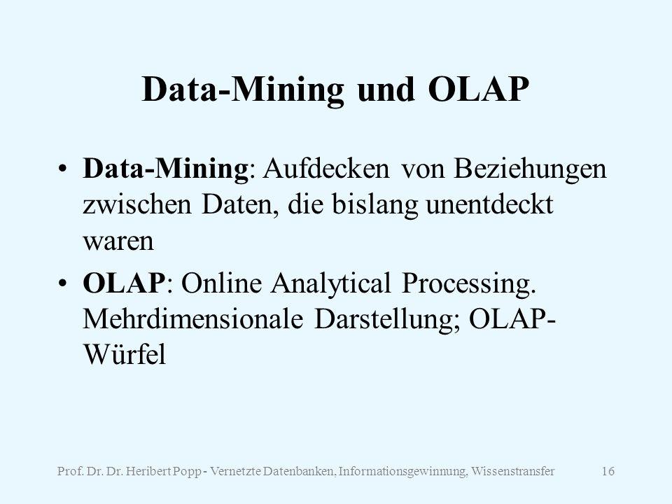 Data-Mining und OLAP Data-Mining: Aufdecken von Beziehungen zwischen Daten, die bislang unentdeckt waren.