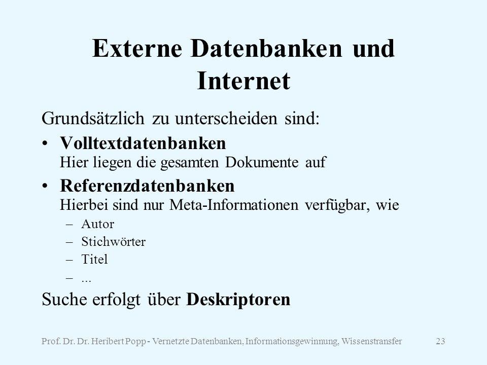 Externe Datenbanken und Internet