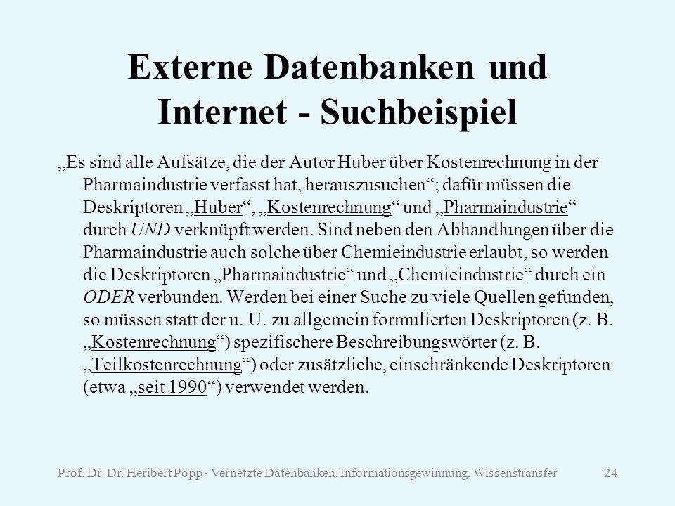 Externe Datenbanken und Internet - Suchbeispiel