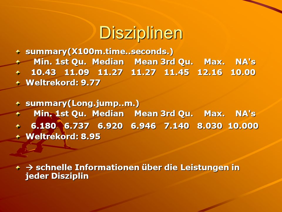 Disziplinen summary(X100m.time..seconds.)