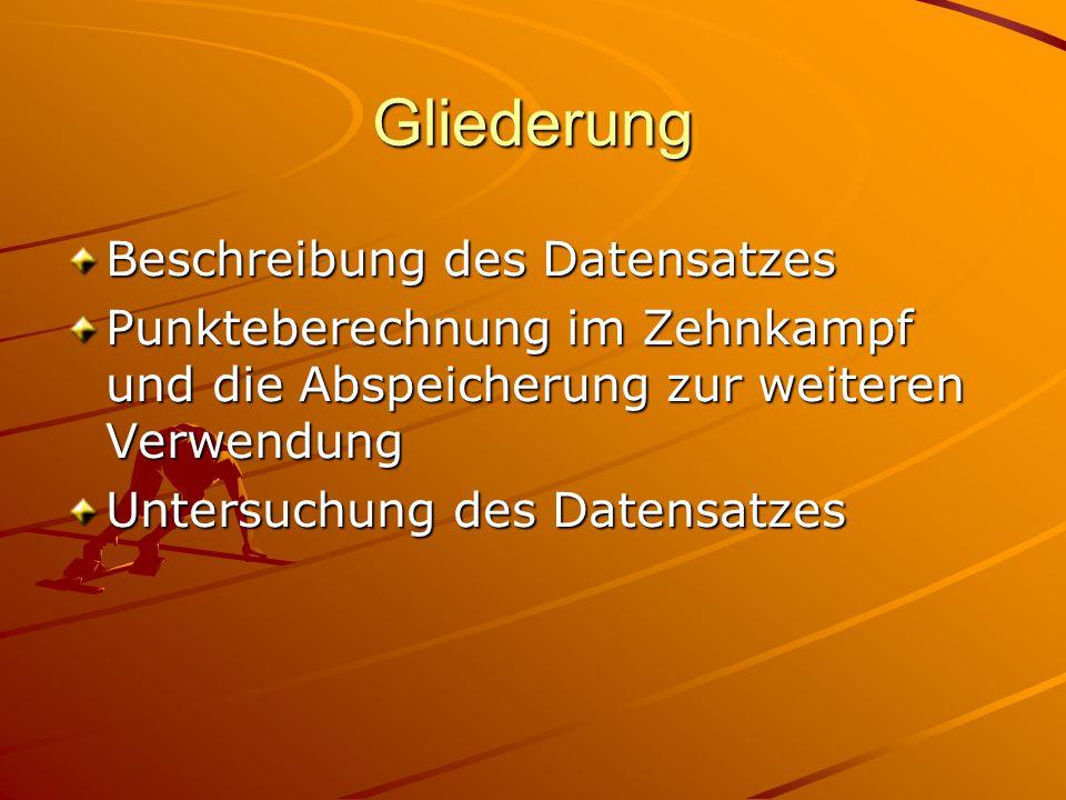 Gliederung Beschreibung des Datensatzes