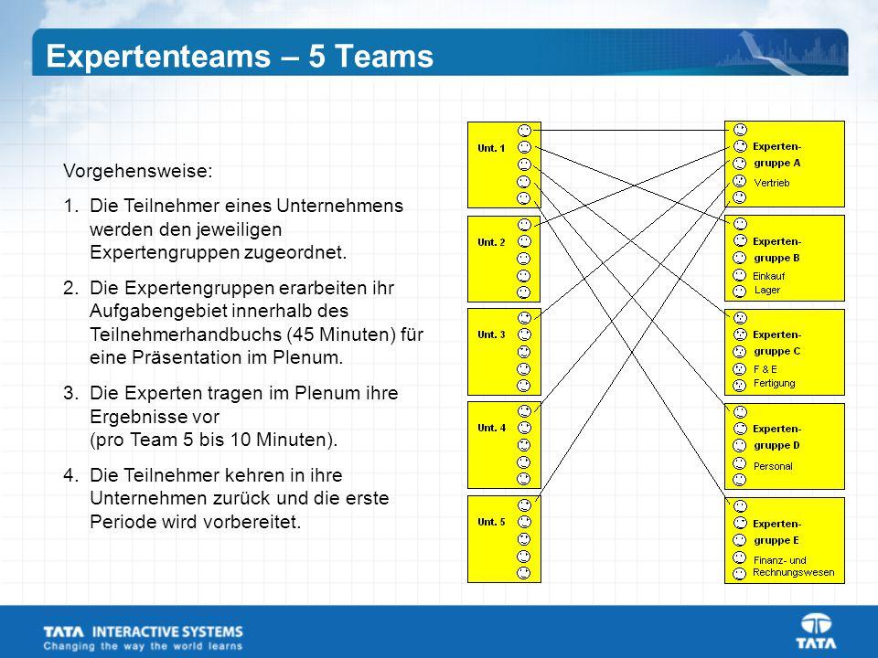 Expertenteams – 5 Teams Vorgehensweise: