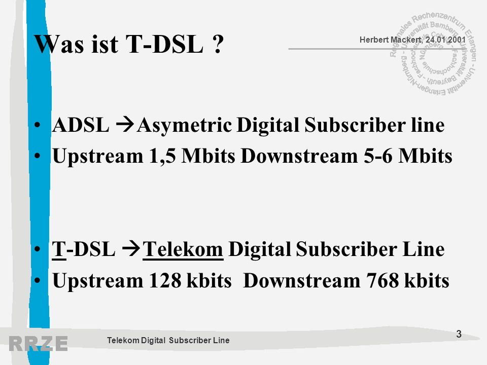 Was ist T-DSL ADSL Asymetric Digital Subscriber line