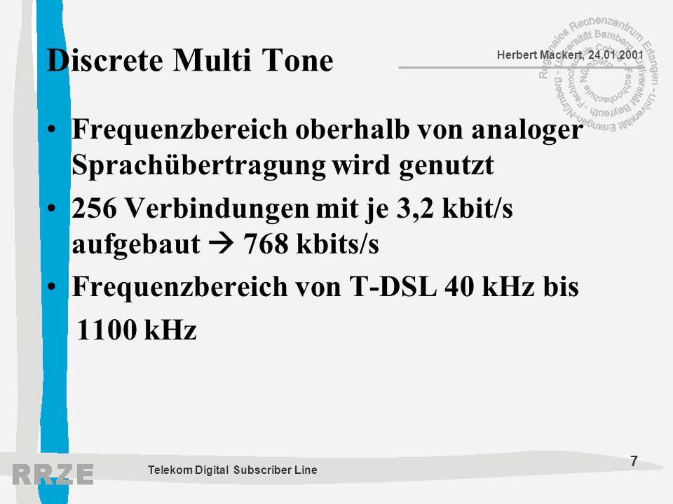 Discrete Multi Tone Frequenzbereich oberhalb von analoger Sprachübertragung wird genutzt. 256 Verbindungen mit je 3,2 kbit/s aufgebaut  768 kbits/s.