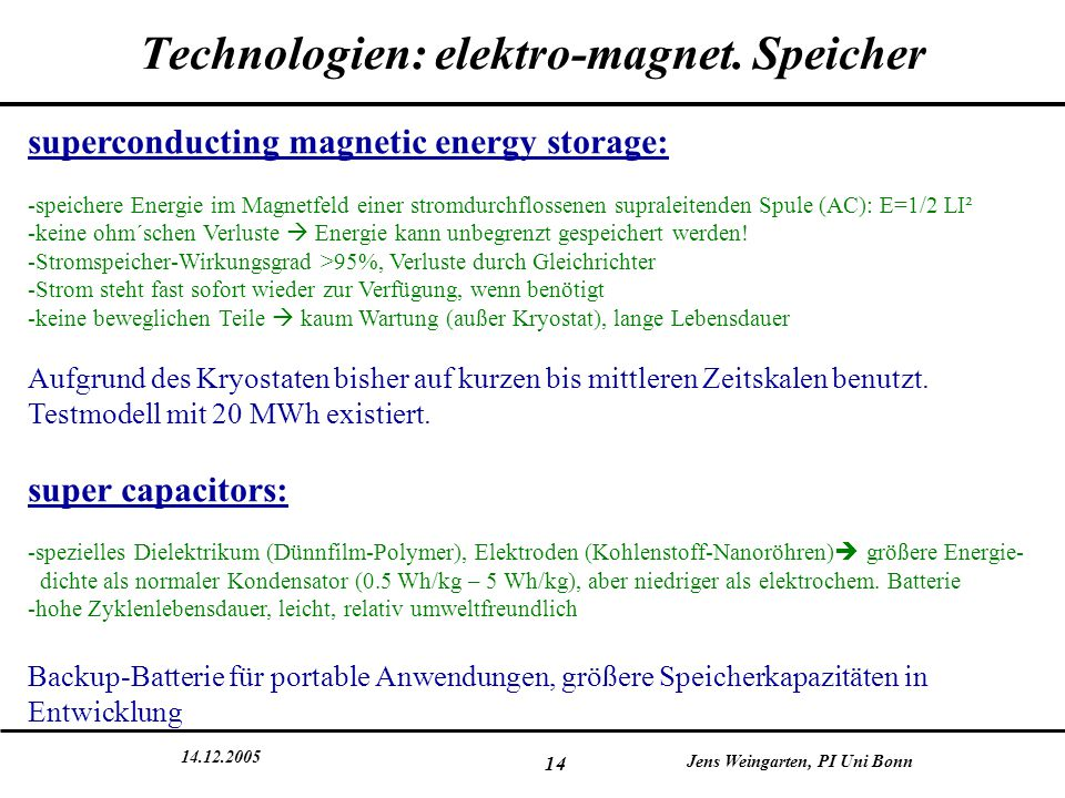 Technologien: elektro-magnet. Speicher