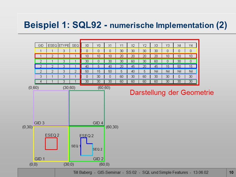 Beispiel 1: SQL92 - numerische Implementation (2)