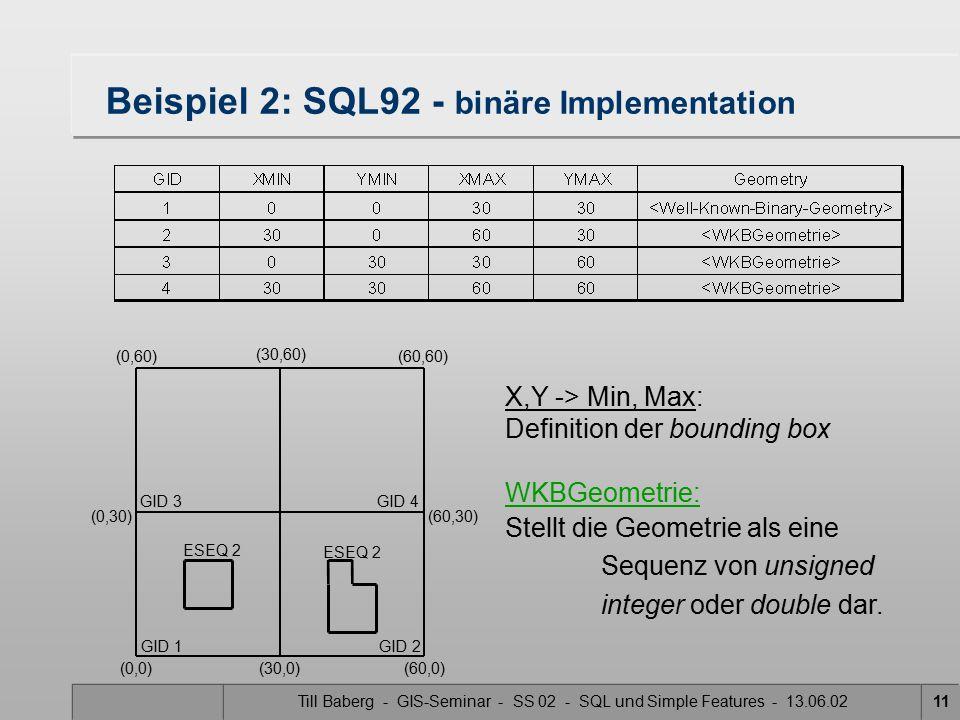 Beispiel 2: SQL92 - binäre Implementation