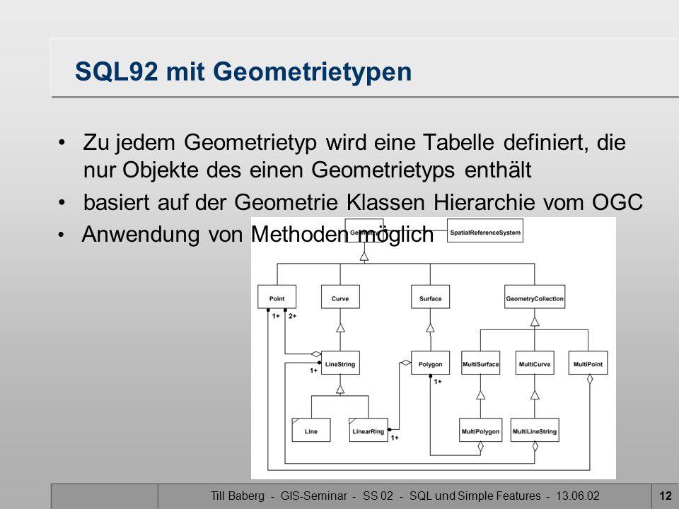 SQL92 mit Geometrietypen