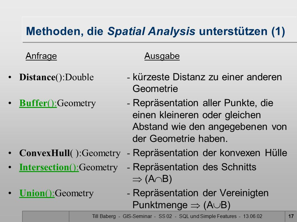 Methoden, die Spatial Analysis unterstützen (1)