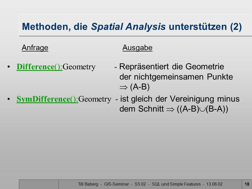 Methoden, die Spatial Analysis unterstützen (2)