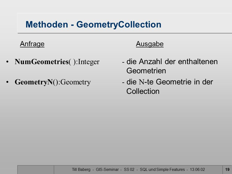 Methoden - GeometryCollection