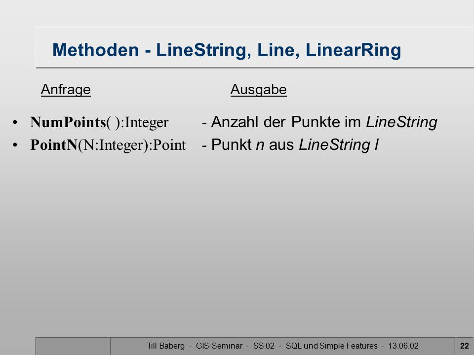 Methoden - LineString, Line, LinearRing