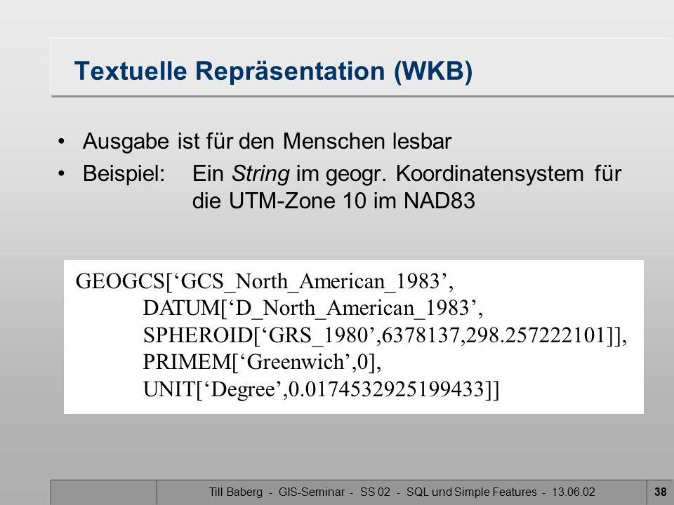 Textuelle Repräsentation (WKB)