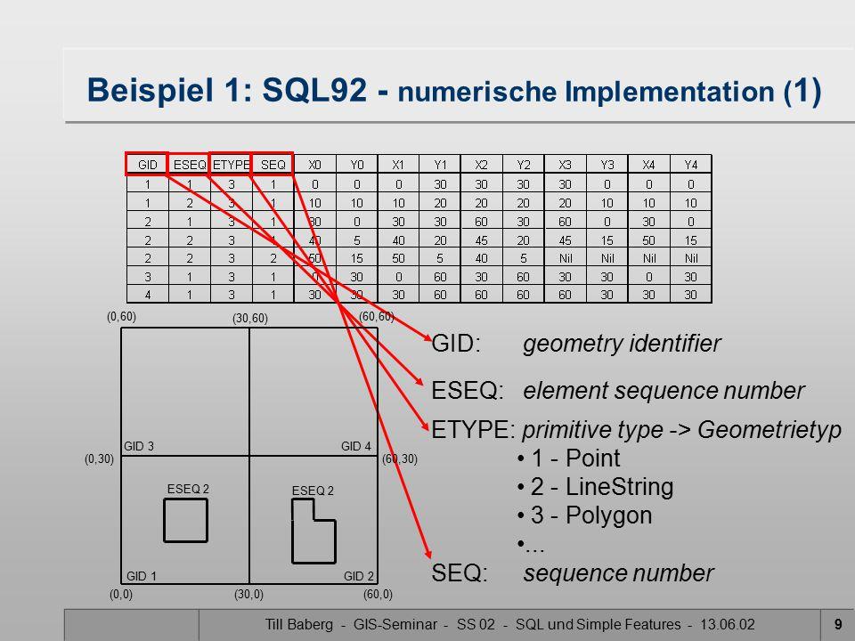 Beispiel 1: SQL92 - numerische Implementation (1)