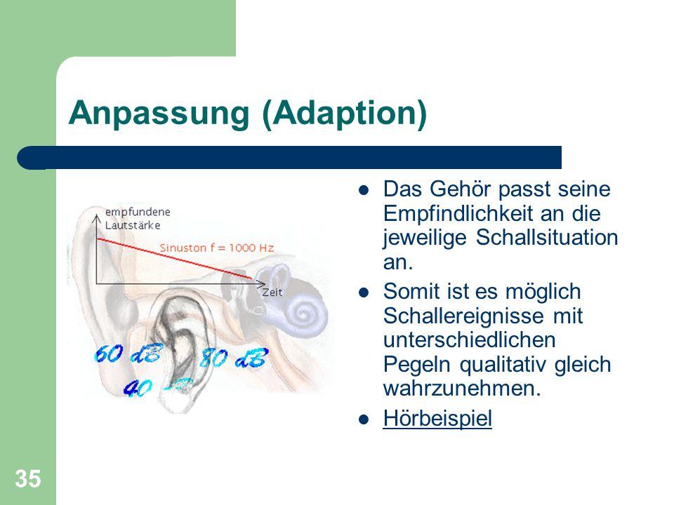 Anpassung (Adaption) Das Gehör passt seine Empfindlichkeit an die jeweilige Schallsituation an.