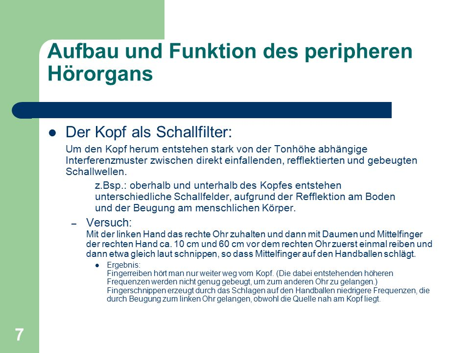 Aufbau und Funktion des peripheren Hörorgans